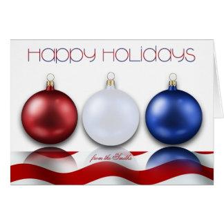 Ornements et drapeau patriotiques bonnes fêtes carte
