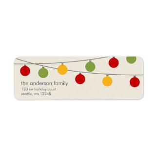 Ornements modernes de Noël de vacances Étiquettes D'adresse Retour
