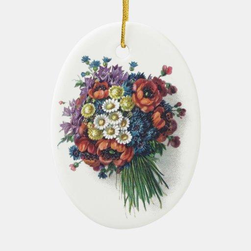 Ornements vintages colorés d'ovale de bouquet