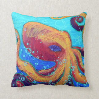 Ornery Octopus Throw Pillow