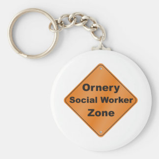 Ornery Social Worker Basic Round Button Keychain