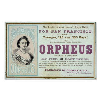 Orpheus Clipper Ship Poster