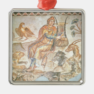 Orpheus playing to the animals, Roman mosaic Metal Ornament