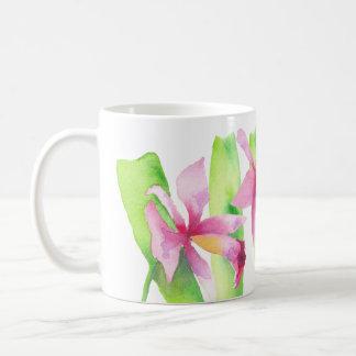 Orquídea watercolor Decorative Violet Rosa Flower Coffee Mug