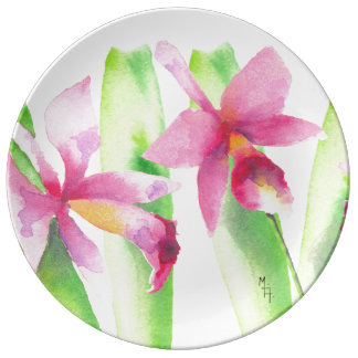 Orquídea watercolor Pretty Decorative Colorful Plate