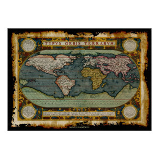Grunge maps posters prints poster printing zazzle ca ortelius39 old world map in rustic grunge style poster gumiabroncs Images