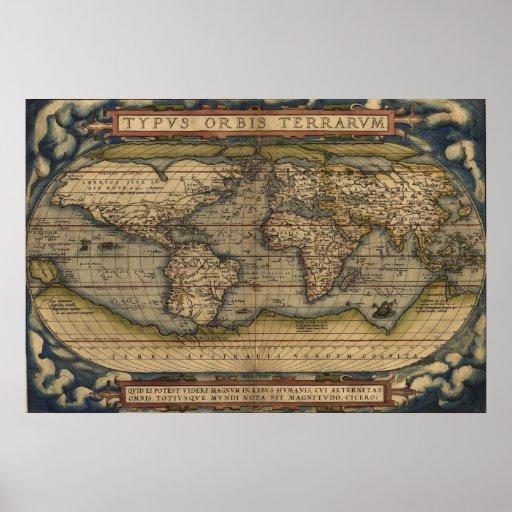 Ortelius World Map 1570 Typvs Orbis Terrarvm Posters