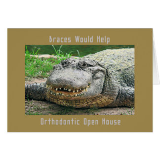 Orthodontic Open House Alligator with Bad Teeth Card