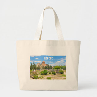 Orthodox cathedral in Athens, Greece Large Tote Bag