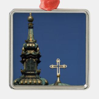 Orthodox Christian Church domes Silver-Colored Square Ornament