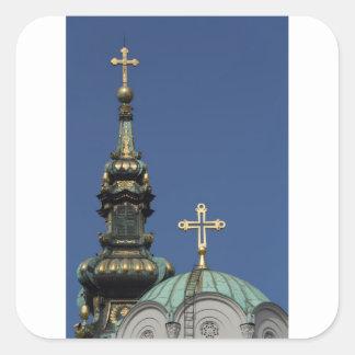 Orthodox Christian Church domes Square Sticker