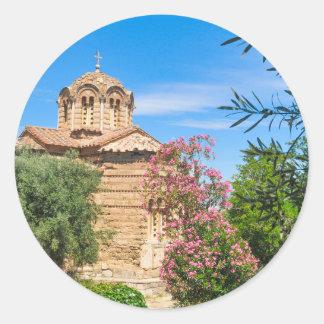 Orthodox church in Athens, Greece Classic Round Sticker