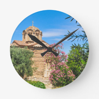 Orthodox church in Athens, Greece Round Clock