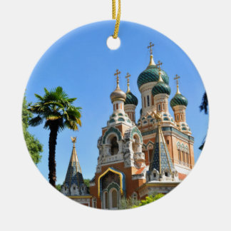 Orthodox church in Nice France Round Ceramic Ornament