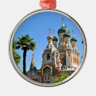 Orthodox church in Nice France Silver-Colored Round Ornament