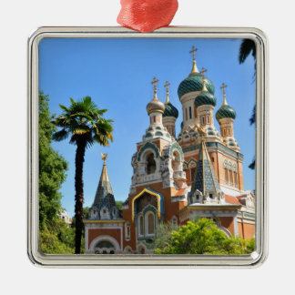 Orthodox church in Nice France Silver-Colored Square Ornament