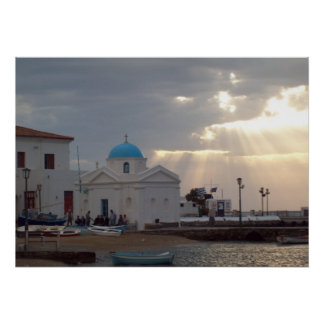 Orthodox Church Mykonos Island Greece Poster