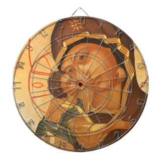 Orthodox Icon of Virgin Mary and Baby Jesus Dartboard With Darts