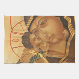 Orthodox Icon of Virgin Mary and Baby Jesus Kitchen Towel