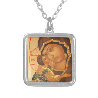 Orthodox Icon of Virgin Mary and Baby Jesus Silver Plated Necklace