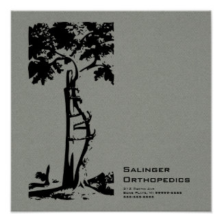 Orthopedic Crooked Tree Gray Faux Flannel Poster