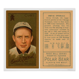 Orval Overall Cubs Baseball 1911 Poster