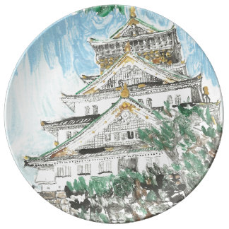 Osaka Castle Japan Porcelain Plate