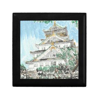 Osaka Castle Japan Wooden Oak Keepsake Box