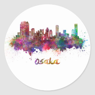 Osaka skyline in watercolor classic round sticker