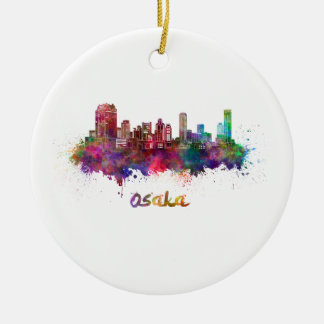 Osaka skyline in watercolor round ceramic ornament