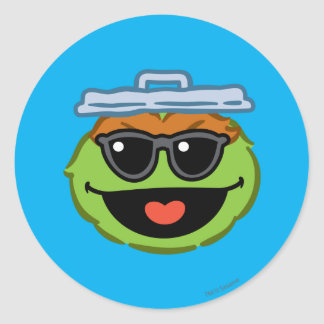Oscar Smiling Face with Sunglasses Classic Round Sticker