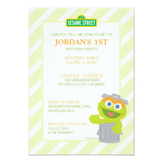 "Oscar the Grouch Baby Birthday 5"" X 7"" Invitation Card"