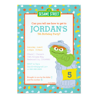 "Oscar the Grouch Birthday 5"" X 7"" Invitation Card"