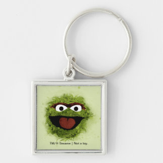 Oscar the Grouch | Watercolor Trend Silver-Colored Square Keychain