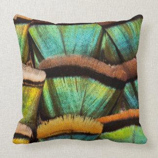 Oscillated Turkey feathers Throw Pillow