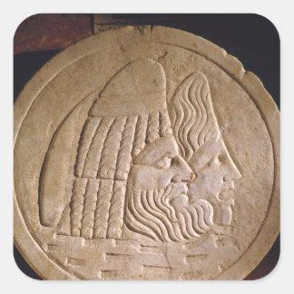 Oscillum dépeignant les masques théâtraux sticker carré
