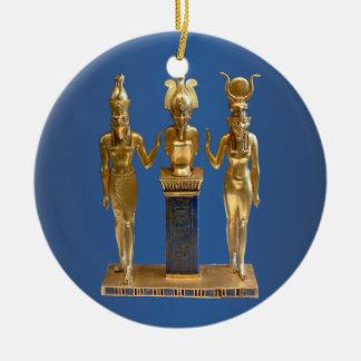 Osiris, Horus, & Isis - Yule Round Ceramic Ornament