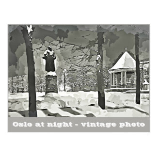 Oslo at Night black and white photography postcard