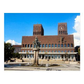Oslo City Hall, statue, fountain Postcard