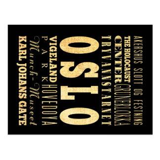 Oslo City of Norway Typography Art Postcard