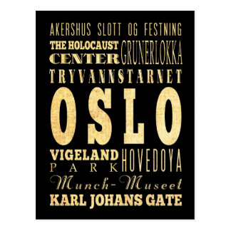 Oslo City of Norway Typography Art Postcard