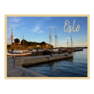 Oslo Harbor with text Postcard