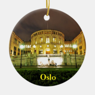 Oslo, Norway at night Ceramic Ornament