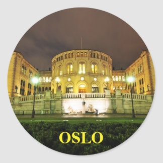 Oslo, Norway at night Classic Round Sticker