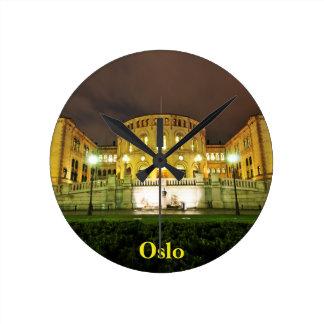 Oslo, Norway at night Round Clock