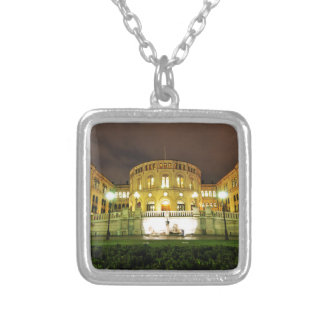 Oslo, Norway at night Silver Plated Necklace
