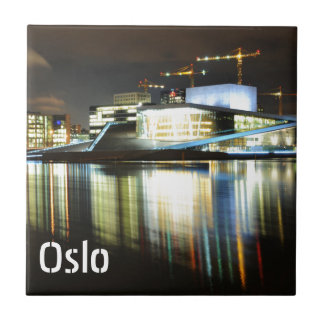 Oslo, Norway at night Tile