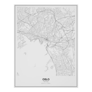 Oslo, Norway Minimalist Map Poster (Style 2)