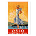 Oslo Norway Vintage Travel Poster Restored Postcard