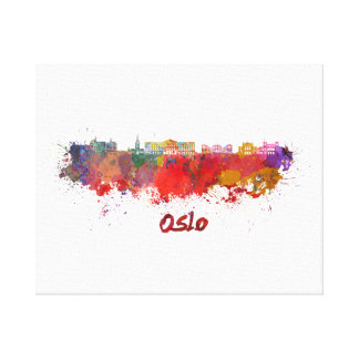 Oslo skyline in watercolor canvas print